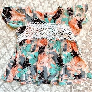 Jessica Simpson 12 mo girls tropical top w/ lace